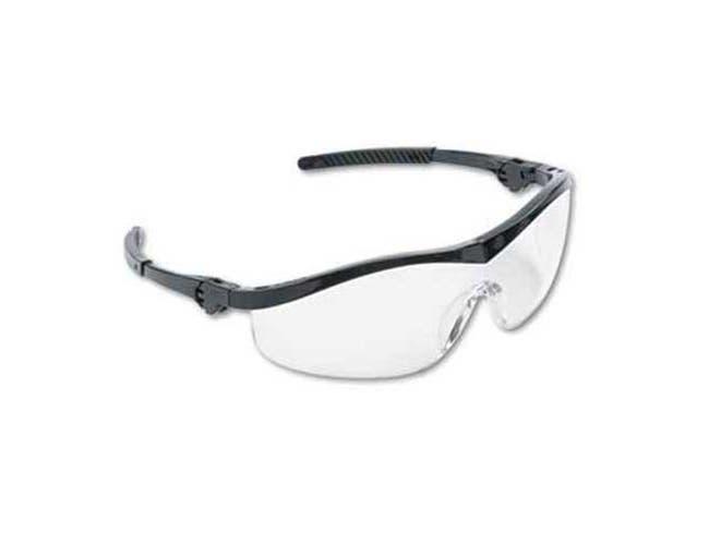 Crews Storm Wraparound Safety Glasses, Black Nylon Frame, Clear Lens, 12/Box
