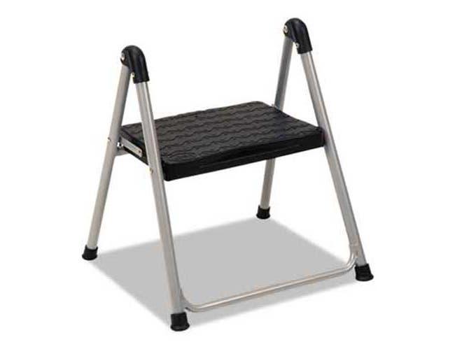 Cosco Folding Step Stool, 1-Step, 200lb, 9 9/10 inch Working Height, Platinum/Black