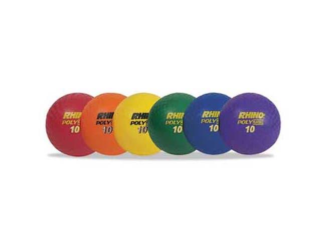 Champion Sports Rhino Playground Ball Set, 10 inch Diameter, Rubber, Assorted, 6 Balls/Set
