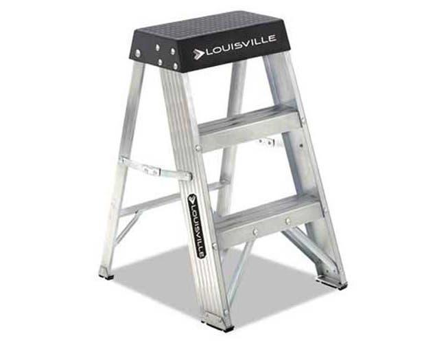 Louisville Aluminum Step Stool, 17w x 18 1/4 Spread x 26h, Aluminum/Black
