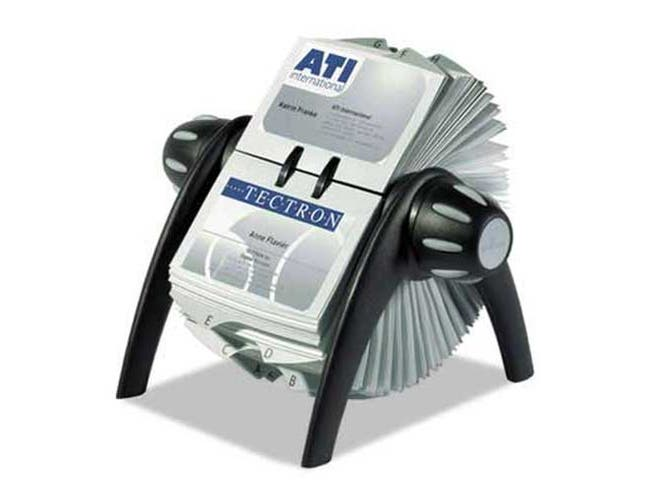 Durable VISIFIX Rotary Business Card File Holds 400 4 1/8 x 2 7/8 Cards, Black/Silver