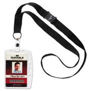 Durable Shell-Style ID Card Holder, Vertical/Horizontal, With Necklace, Clear, 10/Pack
