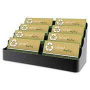 deflecto Recycled Business Card Holder, Holds 400 2 x 3 1/2 Cards, Eight-Pocket, Black
