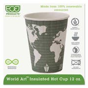 Eco-Products World Art Insulated Compostable Hot Cups, 12oz, Dark Green, 600/Carton