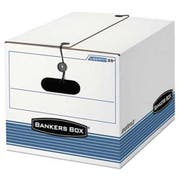 Bankers Box STOR/FILE Extra Strength Storage Box, Letter/Legal, White/Blue, 12/Carton