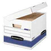Bankers Box SYSTEMATIC Medium-Duty Storage Boxes, Letter/Legal, White/Blue, 12/CT