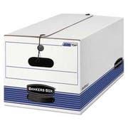 Bankers Box STOR/FILE Storage Box, Button Tie, Legal, White/Blue, 12/Carton