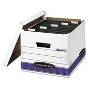 Bankers Box HANGNSTOR Storage Box, Legal/Letter, Lift-off Lid, White/Blue, 4/Carton