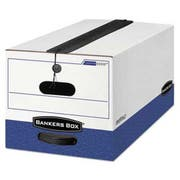 Bankers Box LIBERTY Plus Storage Box, Letter, String/Button, White/Blue, 12/Carton