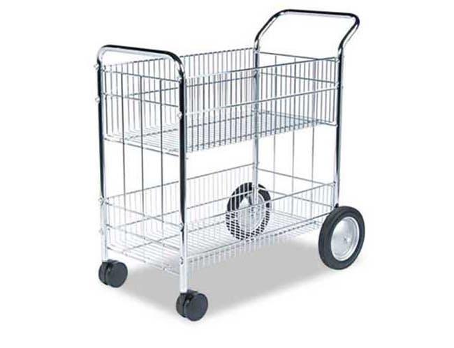 Fellowes Wire Mail Cart, 21-1/2w x 37-1/2d x 39-1/4h, Chrome