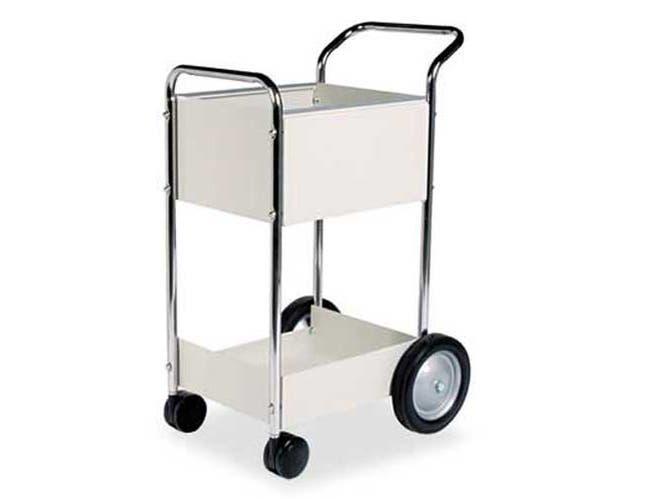 Fellowes Steel Mail Cart, 75-Folder Capacity, 20w x 25-1/2d x 39h, Dove Gray