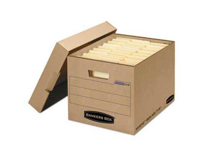 Bankers Box Filing Storage Box with Locking Lid, Letter/Legal, Kraft, 25/Carton
