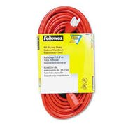 Fellowes Indoor/Outdoor Heavy-Duty 3-Prong Plug Extension Cord, 1-Outlet, 50ft, Orange