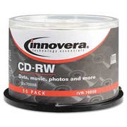 Innovera CD-RW Discs, Rewritable, 700MB/80min, 12x, Spindle, Silver, 50/Pack