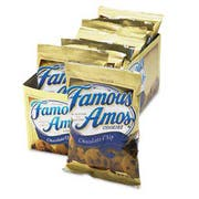 Kelloggs Famous Amos Cookies, Chocolate Chip, 2oz Snack Pack, 8/Box