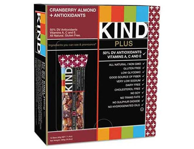 KIND Plus Nutrition Boost Bar, Cranberry Almond and Antioxidants, 1.4 oz, 12/Box