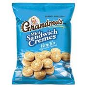 Grandmas Mini Vanilla Crème Sandwich Cookies, 3.71 oz, 24/Carton