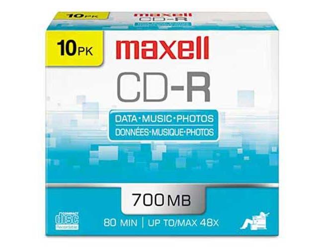Maxell CD-R Discs, 700MB/80min, 48x, w/Slim Jewel Cases, Silver, 10/Pack