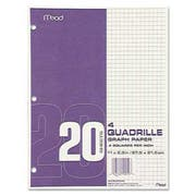 Mead Graph Paper, Quadrille (4 sq/in), 8 1/2 x 11, White, 20 Sheets/Pad, 12 Pads/Pack
