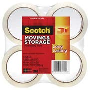 Scotch Moving & Storage Tape, 1.88 inch x 54.6yds, 3 inch Core, Clear, 4 Rolls/Pack