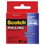 Scotch Tear-By-Hand Packaging Tape, 1.88 inch x 17.5yds, 1 1/2 inch Core, Clear