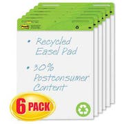Post-it Easel Pads Self-Stick Easel Pads, 25 x 30, White, Recycled, 6 30-Sheet Pads/Carton