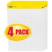Post-it Easel Pads Self-Stick Easel Pads, Quadrille, 25 x 30, White, 4 30-Sheet Pads/Carton