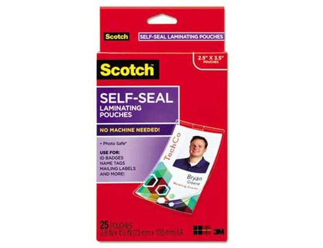 Scotch Self-Sealing Laminating Pouches w/Clip, 12.5 mil, 2 15/16 x 4 1/16, 25/Pack