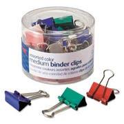 Officemate Binder Clips, Metal, Assorted Colors, Medium, 24/Pack