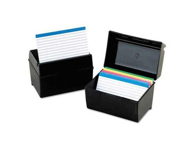 Oxford Plastic Index Card File, 400 Capacity, 6 1/2w x 4 7/8d, Black
