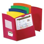 Oxford Contour Two-Pocket Reycled Paper Folder, 100-Sheet Capacity, Assorted Colors