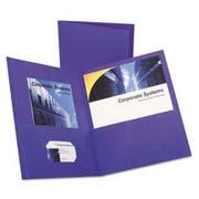 Oxford Twin-Pocket Portfolio, Embossed Leather Grain Paper, Purple, 25/Box