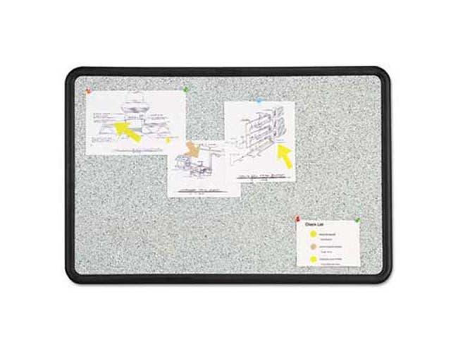 Quartet Contour Granite Gray Tack Board, 36 x 24, Black Frame
