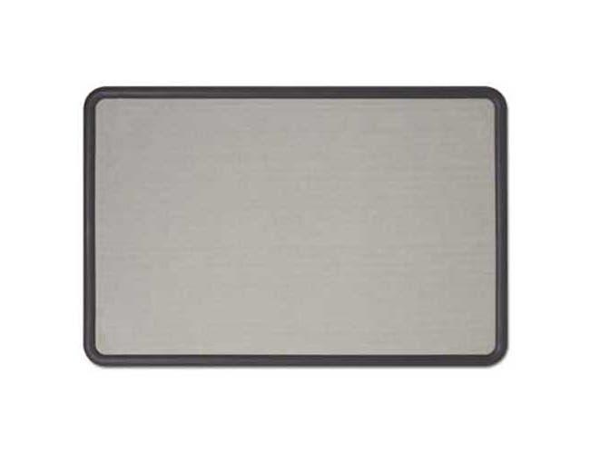 Quartet Contour Fabric Bulletin Board, 36 x 24, Gray Surface, Black Plastic Frame