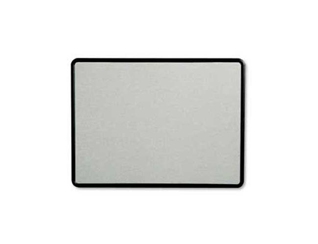 Quartet Contour Fabric Bulletin Board, 48 x 36, Gray Surface, Black Plastic Frame