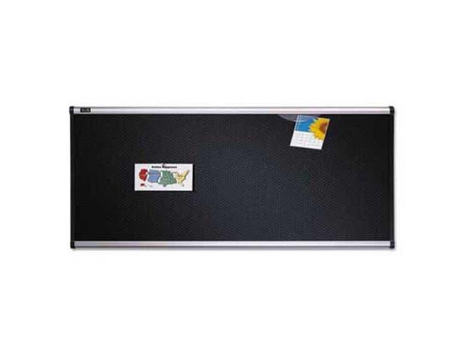 Quartet Embossed Bulletin Board, Hi-Density Foam, 36 x 24, Black, Aluminum Frame