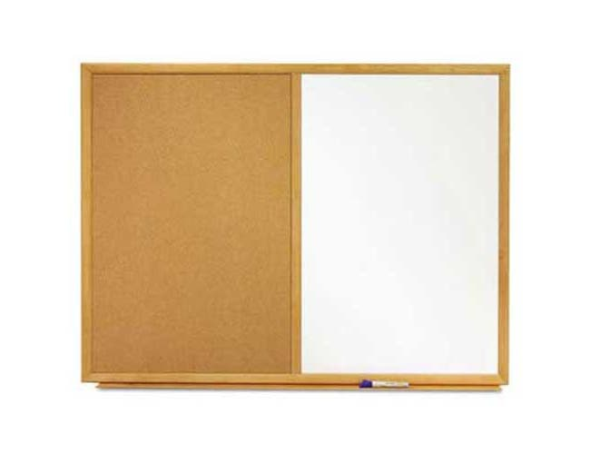 Quartet Bulletin/Dry-Erase Board, Melamine/Cork, 36 x 24, White/Brown, Oak Finish Frame