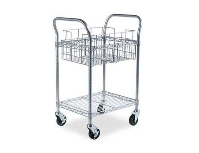 Safco Wire Mail Cart, 600-lb Cap, 18-3/4w x 26-3/4d x 38-1/2h, Metallic Gray