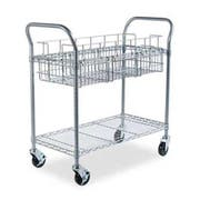 Safco Wire Mail Cart, 600-lb Cap, 18-3/4w x 39d x 38-1/2h, Metallic Gray