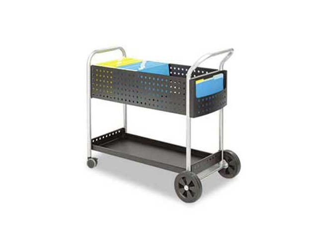 Safco Scoot Mail Cart, One-Shelf, 22-1/2w x 39-1/2d x 40-3/4h, Black/Silver