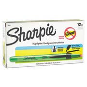 Sharpie Accent Retractable Highlighters, Chisel Tip, Fluorescent Green, 12/Pk