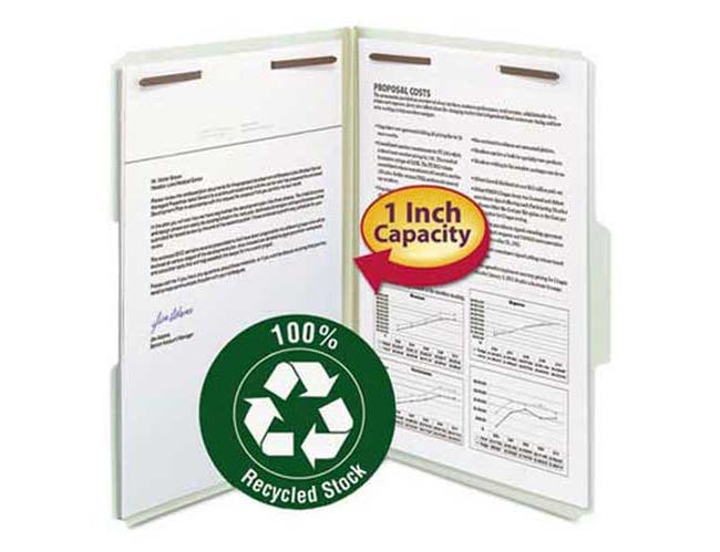 Smead Recycled Pressboard Fastener Folders, Legal, 1 inch Expansion, Gray/Green, 25/Box