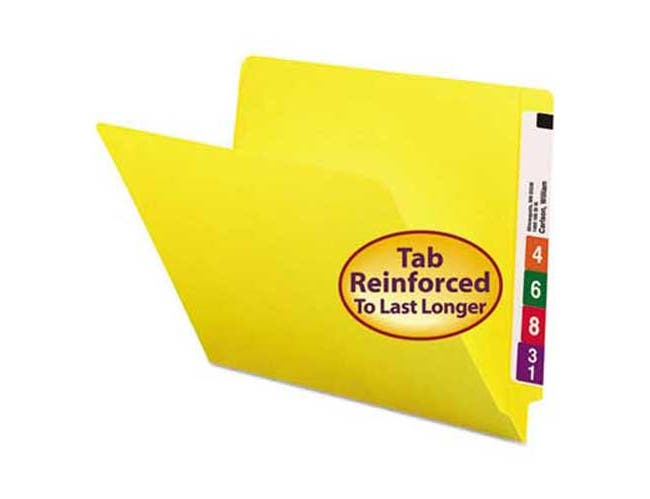 Smead Colored File Folders, Straight Cut, Reinforced End Tab, Letter, Yellow, 100/Box