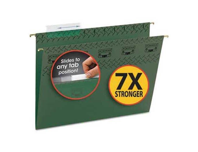 Smead Tuff Hanging Folder with Easy Slide Tab, Letter, Standard Green, 20/Pack