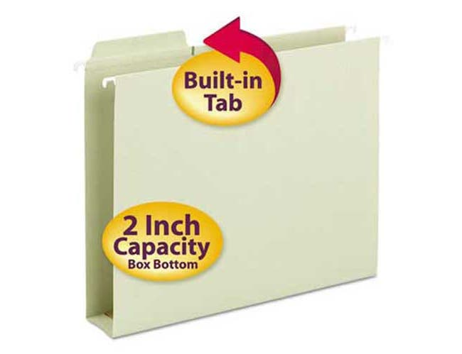 Smead Box Bottom Hanging Folders, Built-In Tabs, Letter, Moss Green