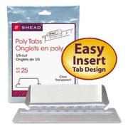 Smead Hanging File Tab/Insert, 1/5 Tab, 2 1/4 Inch, Clear Tab/White Insert, 25/Pack