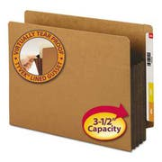 Smead 3 1/2 inch Exp File Pockets, Straight Tab, Letter, Brown, 10/Box