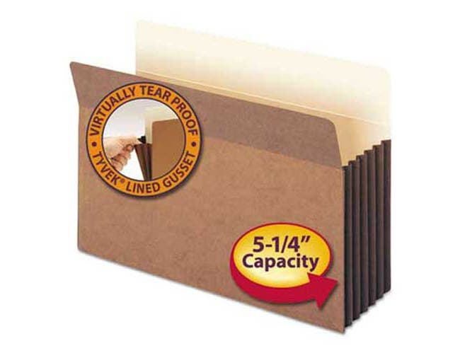 Smead 5 1/4 inch Exp File Pocket, Straight Tab, Legal, Manila/Redrope, 10/Bx