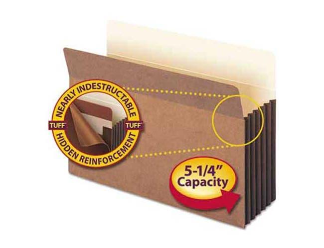 Smead 5 1/4 inch Exp Pocket w/Tyvek, Straight, Legal, Manila/Redrope, 10/Box