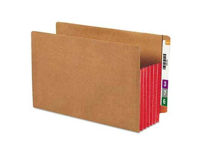Smead 5 1/4 inch Exp File Pockets, Straight Tab, Legal, Red, 10/Box